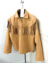 Men New Native American Mountain Man Fringes Tan Goat Leather Shirt GL142 - $78.21+