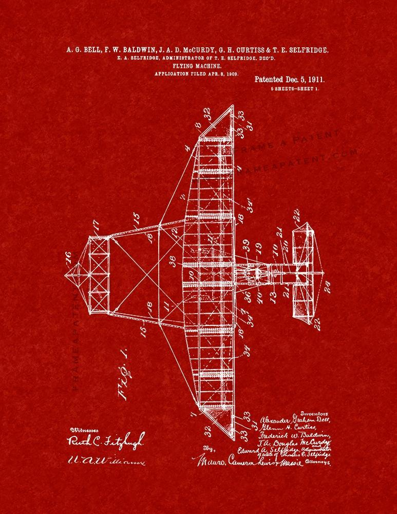 Primary image for Flying-machine Patent Print - Burgundy Red
