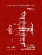 Flying-machine Patent Print - Burgundy Red - $7.95+