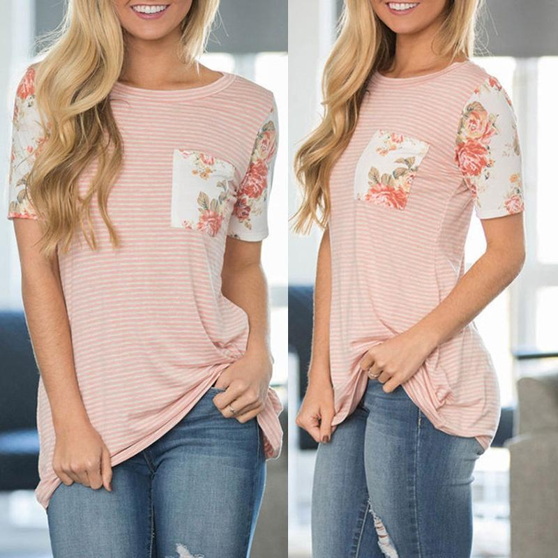 Women's Casual Floral Print Short Sleeve Striped T Shirt with Chest Pocket