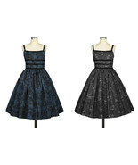 Grey Black Blue Flower Rockabilly Retro Swing Dress Vintage 50s Pin Up P... - $53.46