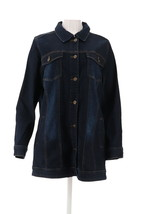Studio Denim Co Denim Distressed Jean Jacket Drk Indigo Wash XXS NEW A30... - $40.57