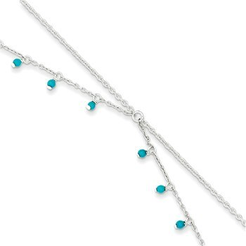 Primary image for Lex & Lu Sterling Silver Turquoise Double Chain Anklet Bracelet 10""