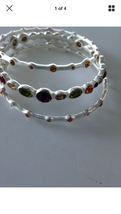 set of 3: beaded bracelets with multicolored stones - $99.99