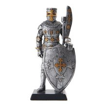 5 Inch Armored Medieval Knight with Large Shield Statue Figurine - $15.44