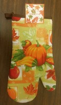 "1 Printed 13"" Jumbo Oven Mitt, PUMPKIN & CORN with green back by TG - $7.91"