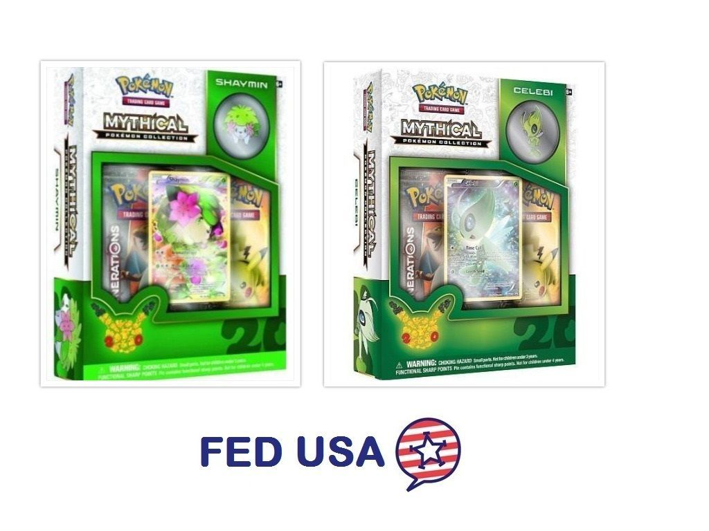 POKEMON Mythical Shaymin + Mythical Celebi Collection Pin Box Generations Packs