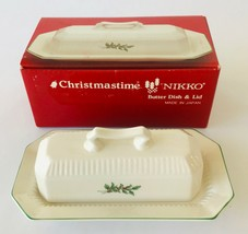 Nikko Christmastime Butter Dish & Lid Made in Japan in Box Holiday Table - $86.11