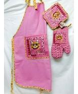 White Diva Cat on Pink apron, pot holder and oven mitt - $34.99