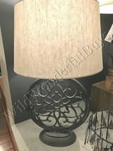 Pottery Barn Brookings Table Lamp Gray 25H Round Farmhouse Lampshade NIB - $144.00