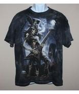 Large Skulbone Tshirt Skeleton Rocker Guitar Graveyard Skulls 2009 James... - $12.82