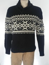 Polo Ralph Lauren Men's Sweater Black White Shawl Collar Snowflake Sz M ... - $115.17