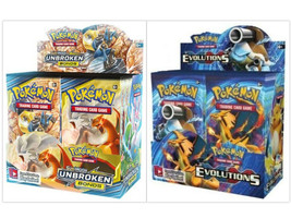 Pokemon TCG Sun & Moon Unbroken Bonds + XY Evolutions Booster Box Bundle - $219.99