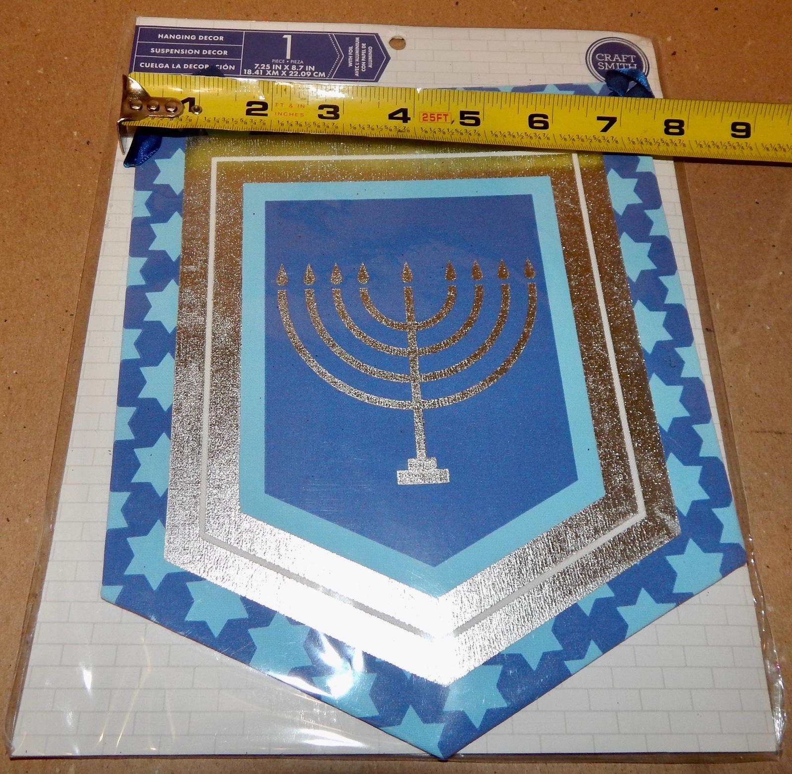 "Christmas Hanging Decor 7 1/4"" x 8 1/2"" Hanukkah Candle Sign Craft Smith 175P"