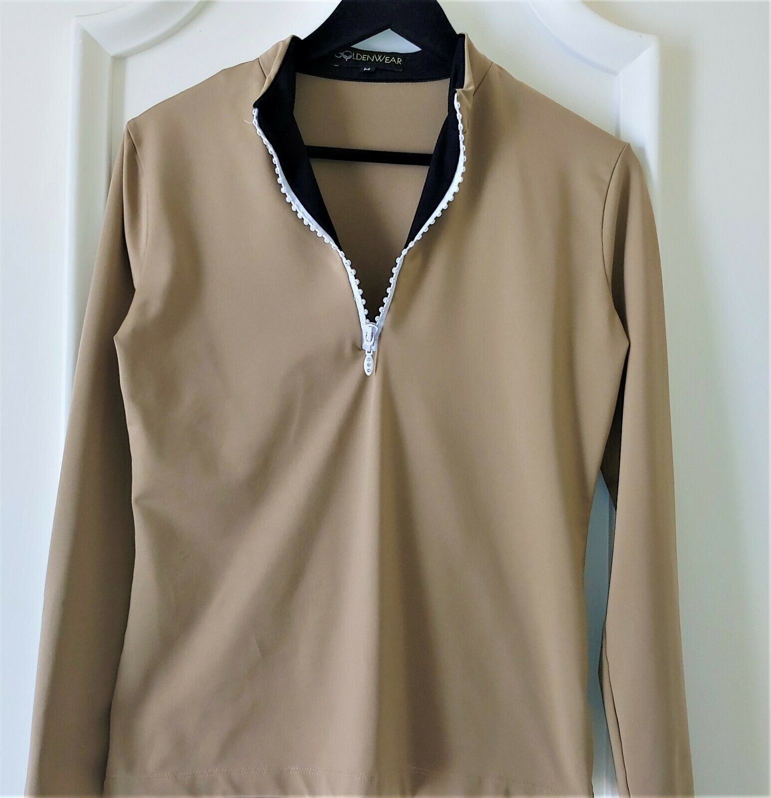 GOLF & CASUAL TAN LONG SLEEVE TOP WITH ZIPPER NECK  - NEW - GOLDENWEAR