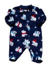 Boys Faded Glory Blue Fleece Polar Bear Sleeper Holiday Pajamas - $10.00