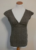 BANANA REPUBLIC Brown Tan & Black Polka Dot Shirt Top Womens Size Small ek - $8.99
