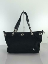BURBERRY BLUE LABEL canvas handbag black color fuzzy dirt used - $99.99