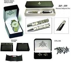 Father's Day Gift (Set) Masonic Wrist Watch + Masonic Ball Pen + Genuin... - $88.05