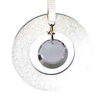 Small Aluminum and Crystal Circle Ornament - Disc image 3