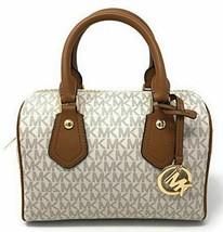NWT Michael Kors Aria Small Satchel Leather Cross body Bag Vanilla/Acorn - $129.95