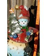 "Vintage 22+"" high Metal snow-woman detailed w, tree, lantern,  w/items i... - $38.12"