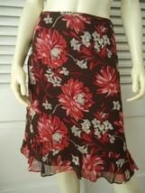 ANN TAYLOR PETITES 100% Silk Floral Print Flouncy Skirt 2P Lined Ruffle ... - $44.55