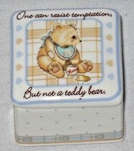 Cherished Teddies Square Trinket Box Teddy Bear Temptation Bib Honey 853577 - $15.95
