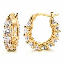 14K Gold Plated 925 Sterling Silver Post Cubic Zirconia Hoop Earrings Gi... - $25.49