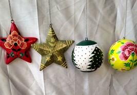 Christmas tree decoration ornaments paper mache balls stars 4 pc pack - $39.50