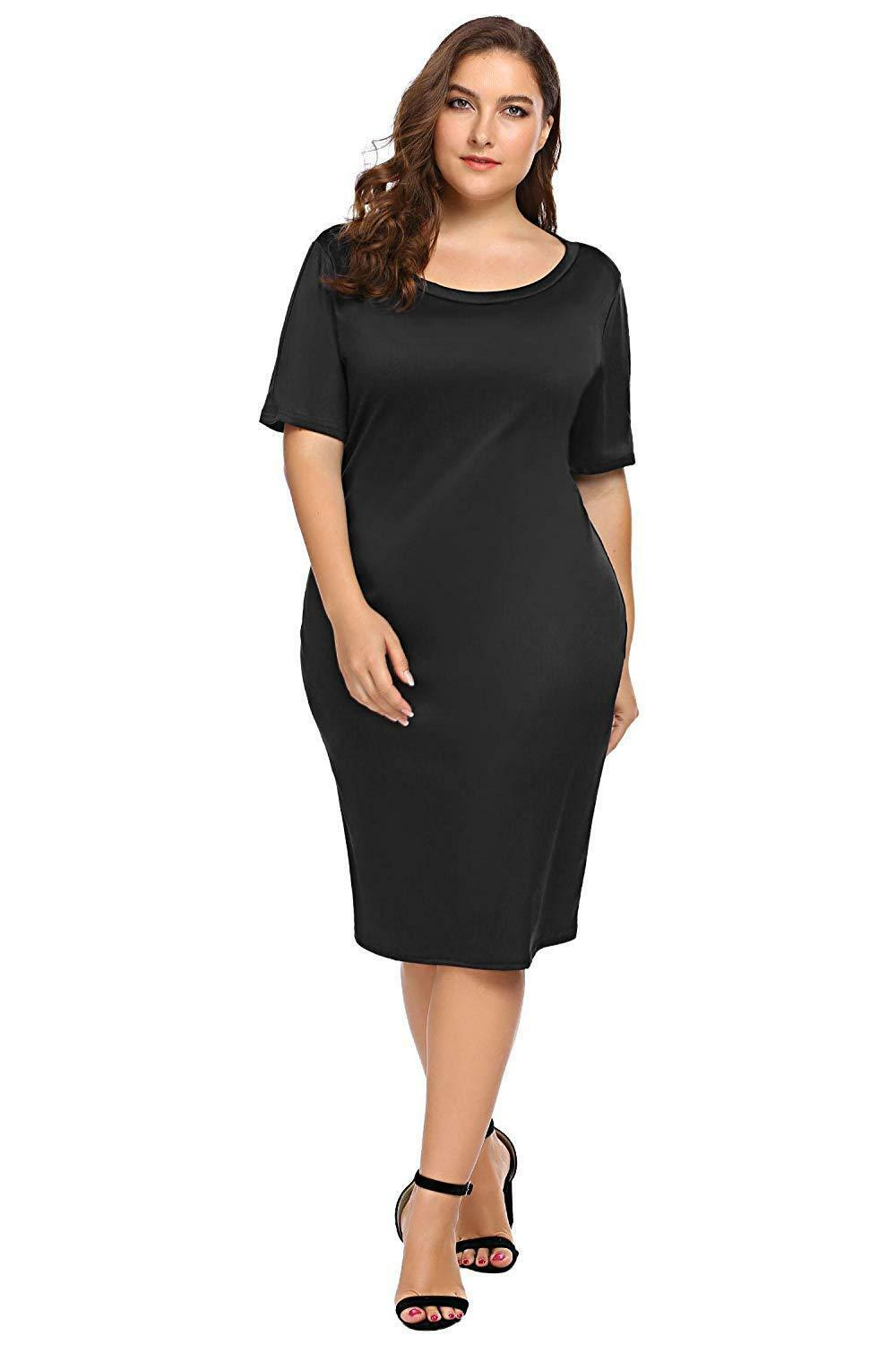 Zeagoo Women Plus Size Loose Fit Short Sleeve O-Neck Casual Midi Dress image 8