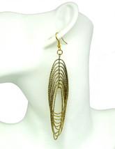 Women new yellow gold hanging loops hook pierced earrings - $24.64 CAD