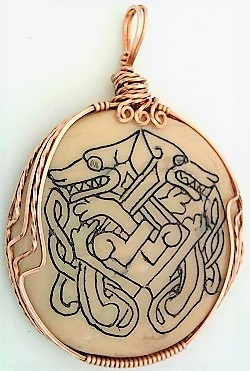 Primary image for Celtic Knotwork Scrimshaw Hounds Copper Wrap Pendant 5