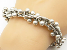 MEXICO 925 Silver - Vintage Ball Bead Modernist Linked Chain Bracelet - ... - $224.50