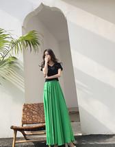 Floor Length Chiffon Maxi Skirt Bridesmaid Skirt,Green Yellow Red, High Waist image 2