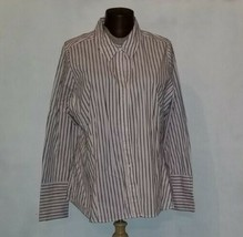 Lane Bryant Women's Striped Button Down Long Sleeve Shirt Plus Size 24 - $14.99