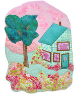 Cottage in the Garden: Quilted Art Wall Hanging - $330.00