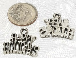 HAPPY HOLIDAYS FINE PEWTER PENDANT CHARM - 19.5x17x1.5mm image 2