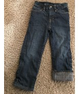 Baby Gap 1969 Flannel-lined Straight Jeans Boy 4 Buffalo Check 100% Cott... - $19.23