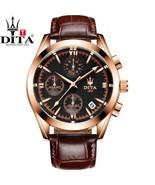 DITA Chronograph Men's Watch 3 Active Quartz Genuine Leather Strap (6 CO... - $44.99