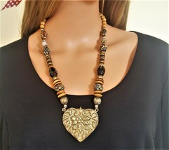 Vintage Brass Heart Wooden Beaded , Painted Necklace - $10.00