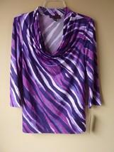 NEW womens ladies size S purple pink DANA BUCHMAN drape neck knit top shirt - $19.55