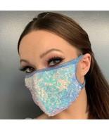 Sequin Face Mask Iridescent Metallic Elastic Straps Sparkle Shiny Fashio... - $15.39