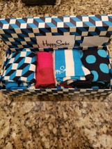 HAPPY SOCKS TURQUOISE/WHITE/RED/BLACK STRIPE/GEOMETRIC DRESS SOCKS 4 PAC... - $28.99
