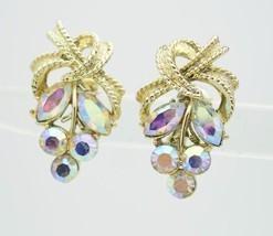 VTG CORO Gold Tone Clear Purple AB Rhinestone Flower Leaf Clip Earrings - $29.70