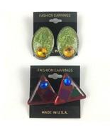 Vintage Pierced Earrings Lot New Wave Green Glitter Red Triangle Rhinest... - $11.83