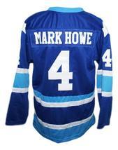 Mark Howe Retro Wha Hockey Jersey New Blue Any Size image 4