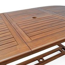 Patio Wooden Dining Set 6 Seater Oval Table Chairs Garden Conservatory Furniture image 3