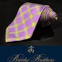 BROOKS BROTHERS Purple Multi Color Plaid Luxury Dapper Stripped Tie - $41.22