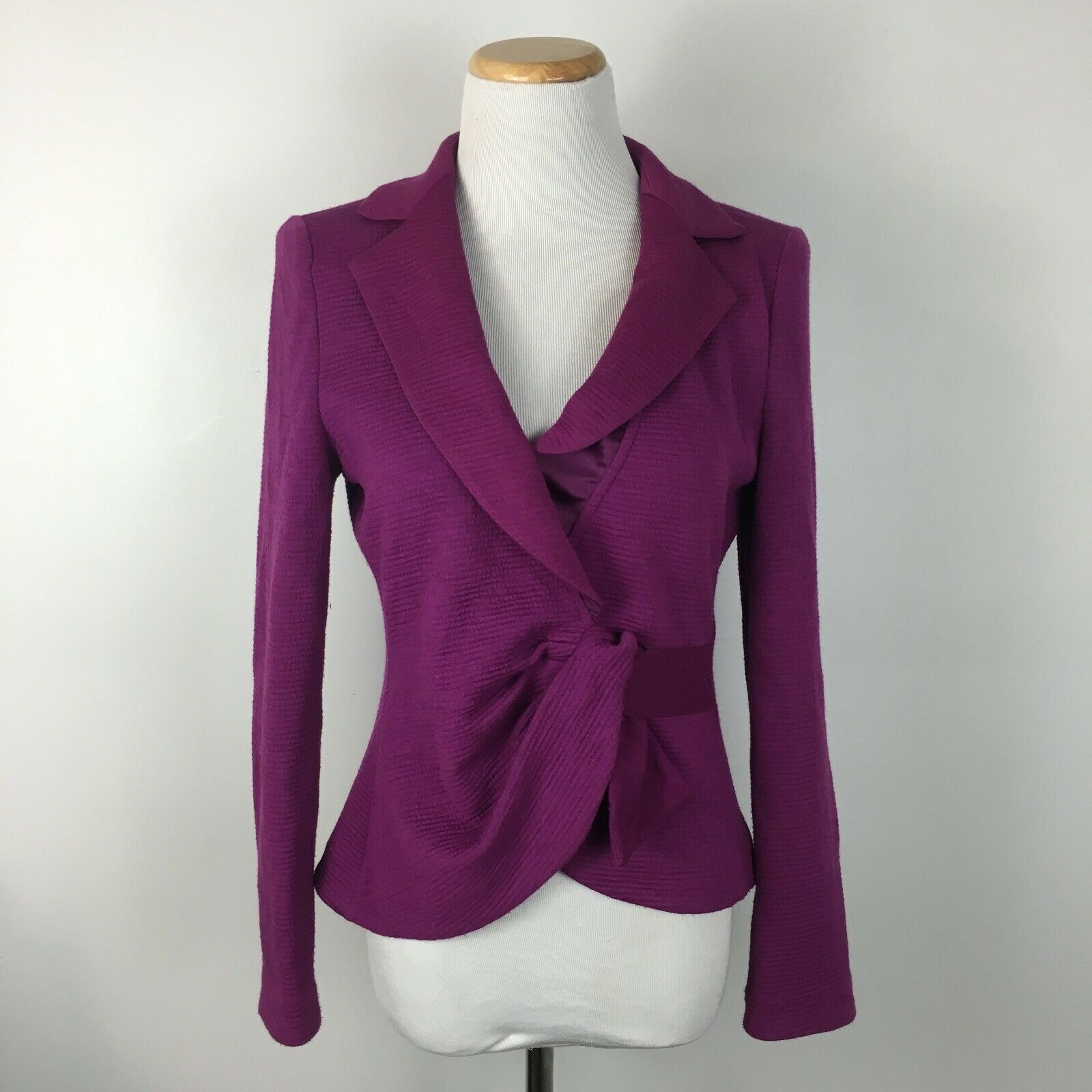 Armani Collezioni Women's Purple Knit Soft Tie Front Blazer Jacket Size 6